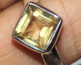Natural Citrine 925 Sterling Silver Ring Size (US 7.5) 98