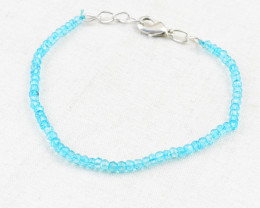 Blue Apatite Faceted Beads Bracelet