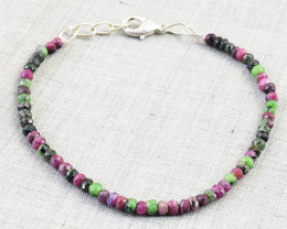 Faceted Ruby Zoisite Beads Bracelet
