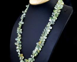 Phrenite Tear Drop Beads Necklace