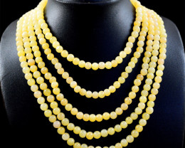 Round Shape Aventurine  5 Line Beads Necklace