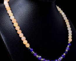 Amethyst & Aventurine Round Shape Beads Necklace