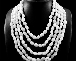 5 Line White Agate Beads Necklace