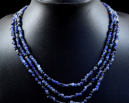 Iolite 3 Line Beads Necklace