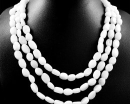 White Agate 3 Line Beads Necklace