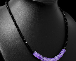 Faceted Black Spinel & Purple Amethyst Beads Necklace