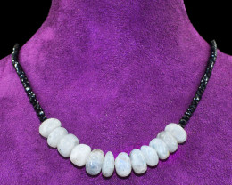 Faceted Black Spinel & Moonstone Beads Necklace