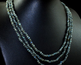 3 Line Labradorite Beads Necklace