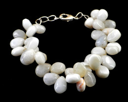 Genuine 185.00 Cts White Agate Beads Bracelet