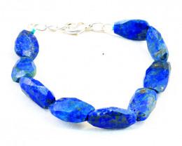 Faceted Blue Lapis Lazuli Beads Bracelet