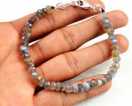 Blue Flash Labradorite Faceted Beads Bracelet
