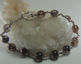 crafted brown quartz bracelet  silvers purity 64.45 cts