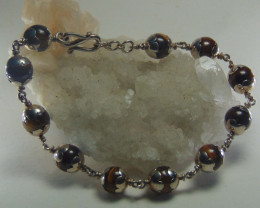 crafted bracelet ~ tiger eye~pure silver total 80.60cts