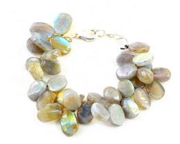 Golden Flash Labradorite Oval Shape Beads Bracelet