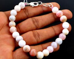 Pink Australian Opal Round Beads Bracelet