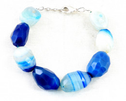 Blue Onyx Faceted Beads Bracelet