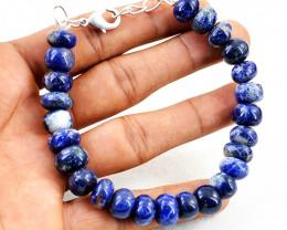 Round Blue Sodalite Beads Bracelet