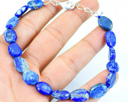 Blue Lapis Lazuli Oval Shape Beads Bracelet