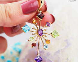 Stylish Assorted Gemstones & Diamonds in Gold Pendant - P 4451 5700
