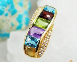 Stylish Assorted Gemstones & Diamonds in Gold Pendant - P 8816 7450