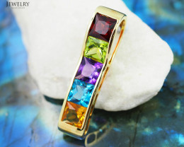 Stylish Colorful Assorted Gemstones in Gold Pendant - P 4864 3900