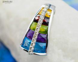 Stylish Assorted Gemstones & Diamonds in Gold Pendant - P 6875 5900