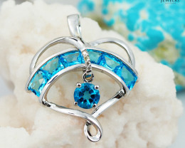 14 K White Gold Blue Topaz & Diamond Pendant P 7279 6400