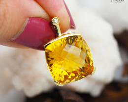 14 K Yellow Gold Citrine & Diamond Pendant - P 11066 3850