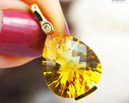14 K Yellow Gold Citrine & Diamond Pendant - P 11061 3700