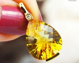 14 K Yellow Gold Citrine & Diamond Pendant - P 11061 3700