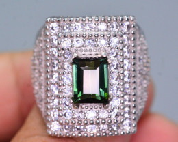 Stylish Modern 1.95 Ct Natural Tourmaline And Zircon Ring ~ Silver