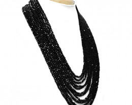 Royal Black Spinel Faceted Beads Necklace