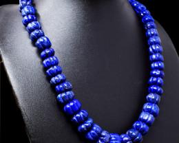 Blue Lapis Lazuli Carved Beads Necklace - Single Strand