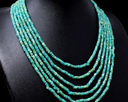6 Lines Amazonite Round Beads Necklace