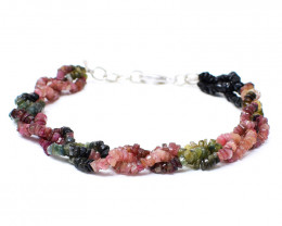 Watermelon Tourmaline Faceted Beads Bracelet