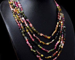 Watermelon Tourmaline Oval Shape Beads 5 Lins Necklace