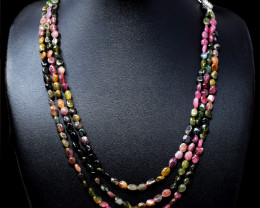 Designer Watermelon Tourmaline Beads Necklace