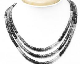 Black Rutile Quartz Faceted Beads 3 Strand Necklace
