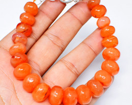 Orange Carnelian Round Beads Bracelet