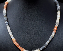 Genuine 148.00 Cts Multicolor Moonstone Beads Necklace