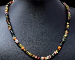 Single Strand Watermelon tourmaline Beads Necklace