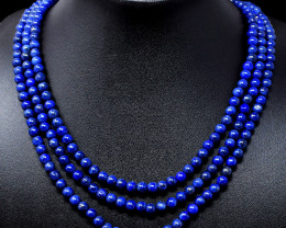 Blue Lapis Lazuli Round Beads 3 Lines Necklace