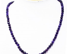 Purple Amethyst Round Shape Beads Necklace