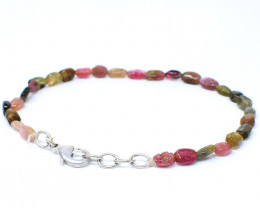 Watermelon Tourmaline Oval Shape Beads Bracelet