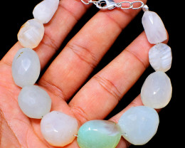 Chalcedony Faceted Beads Bracelet