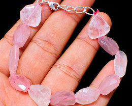 Pink Rose Quartz Faceted Beads Bracelet