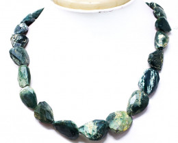 Forest Green Jasper Faceted Beads Necklace