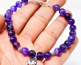 Amethyst Round Beads Charm Bracelet