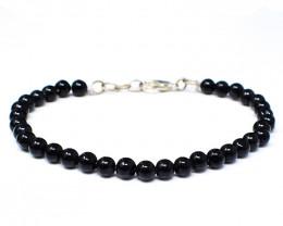Genuine 57.00 Cts Black Spinel Beads Bracelet