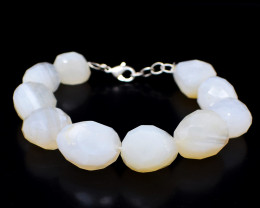 White Agate Faceted Beads Bracelet